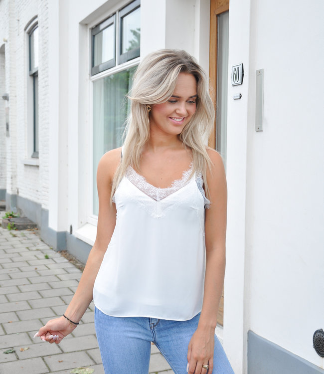 TESS V Louise lace top white