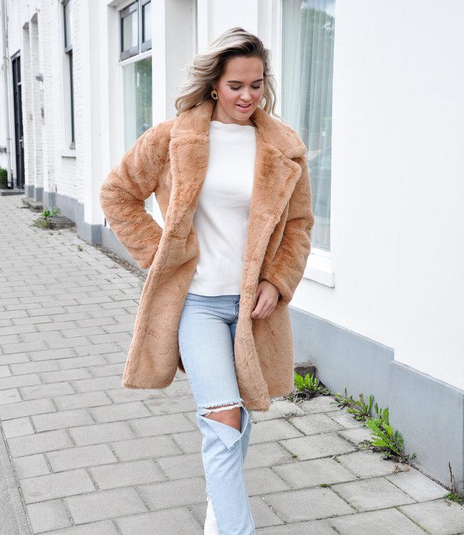 TESS V Noa faux fur jacket brown