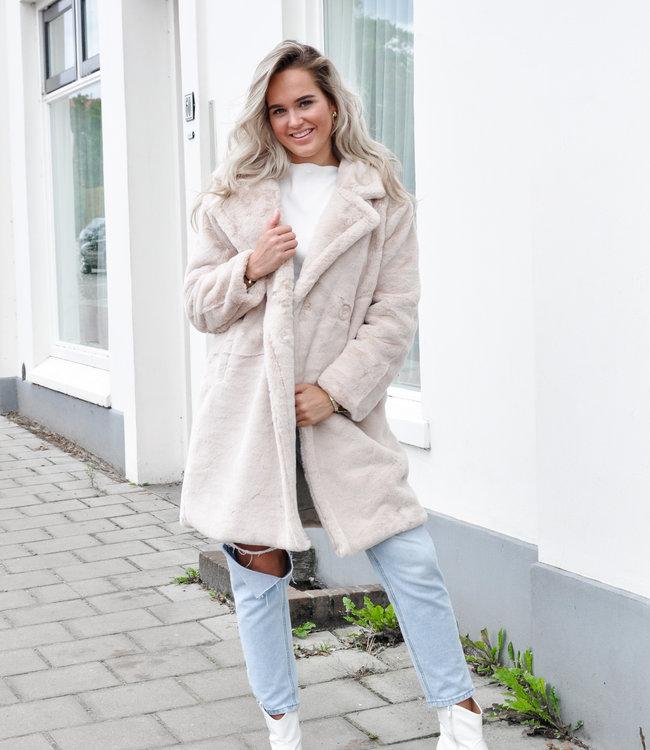 TESS V Noa faux fur jacket beige