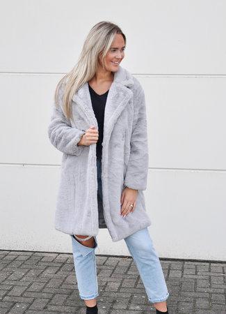 TESS V Noa faux fur jacket grey