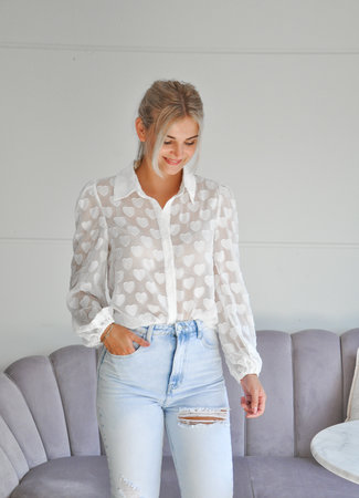 TESS V Hearts blouse white