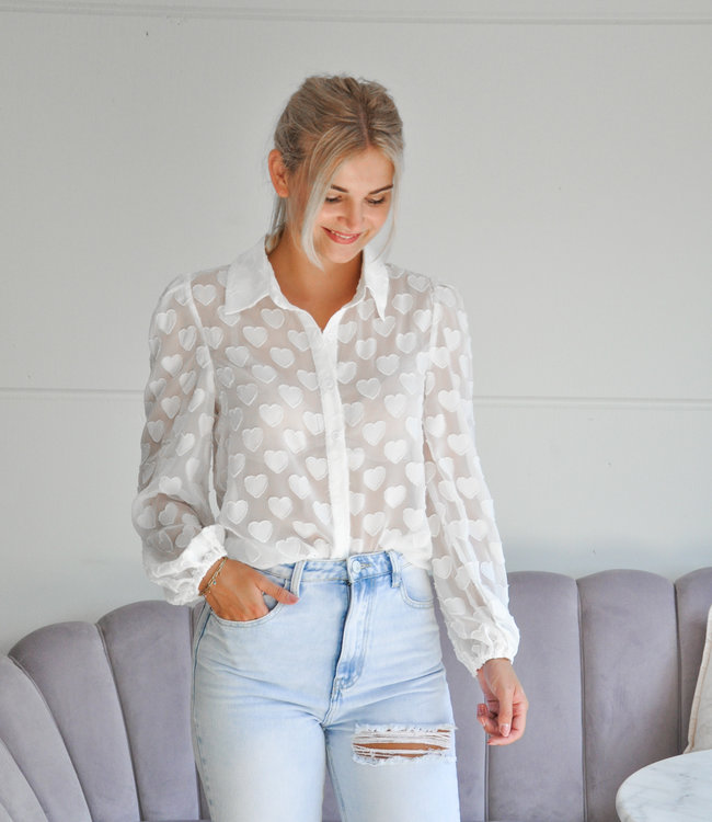 TESS V Hearts blouse white