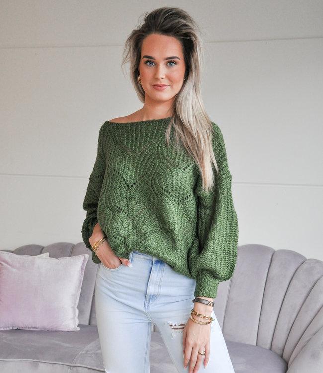 TESS V Kae sweater dark green