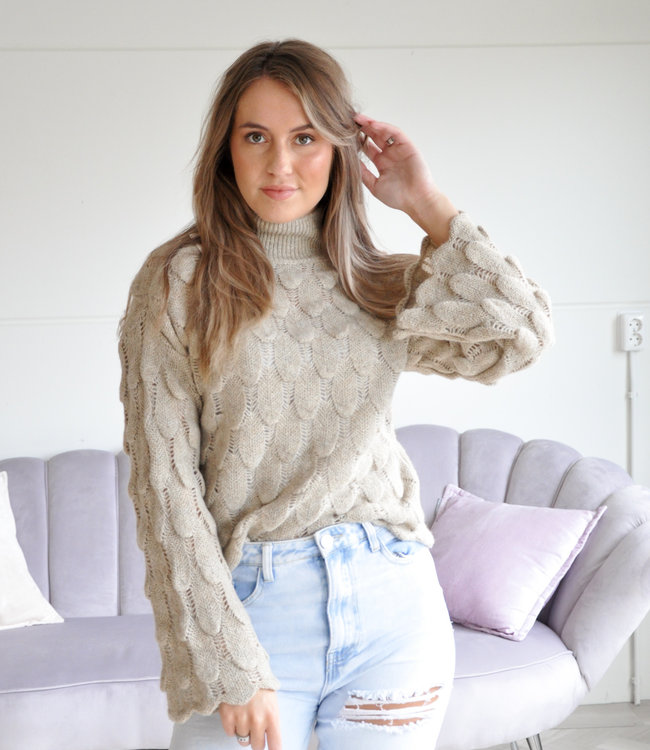 TESS V Feather sweater beige