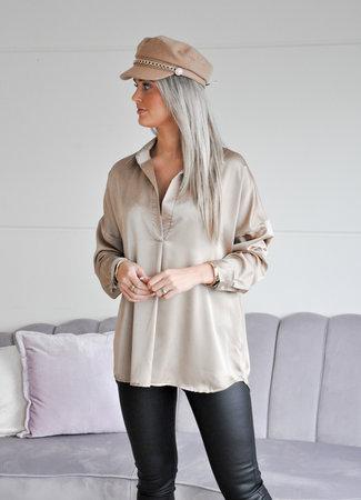 TESS V Satin blouse champagne