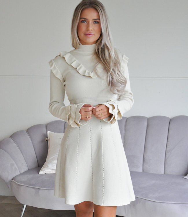 TESS V Donna ruffle dress beige