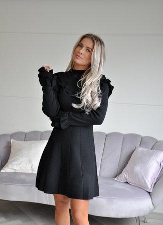 Donna ruffle dress black