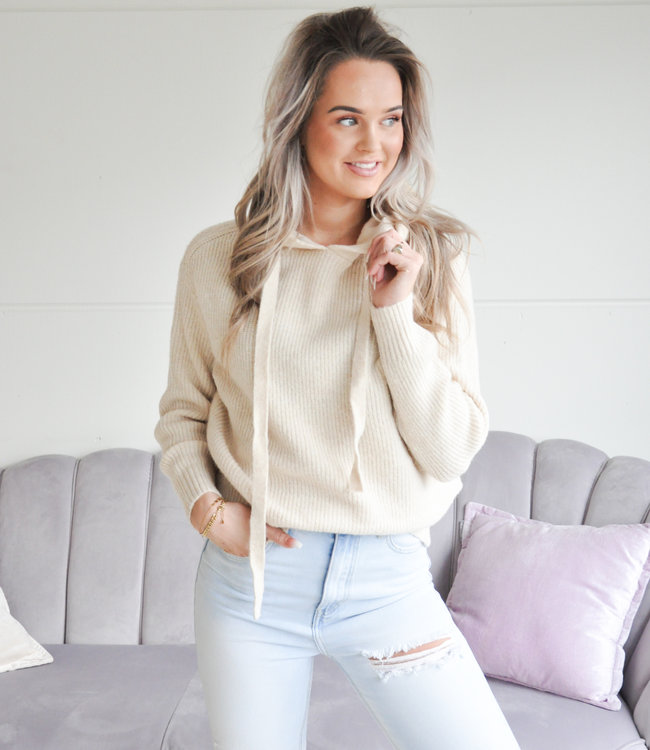 TESS V Soft hoodie beige
