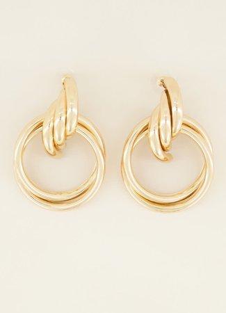 Iconische ketting oorbellen goud