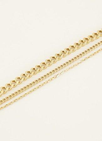 My Jewellery Driedubbele schakelarmband goud