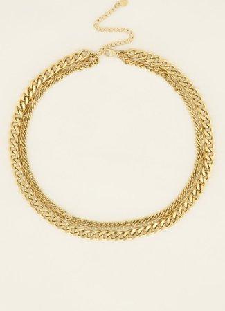 Driedubbele schakel ketting goud