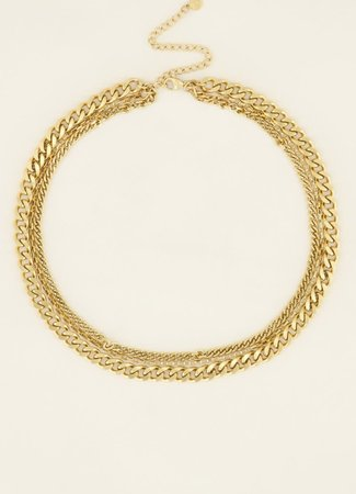 My Jewellery Driedubbele schakel ketting goud