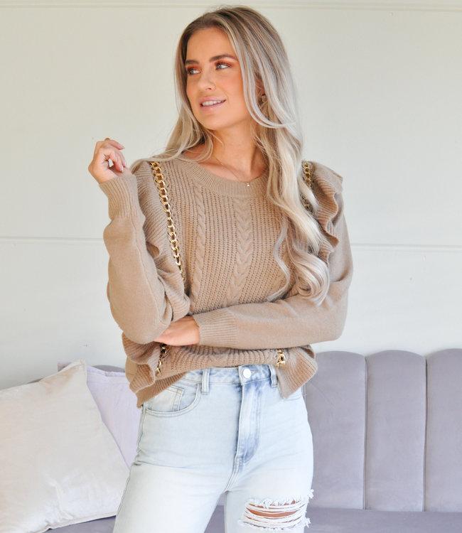 TESS V Chain sweater camel
