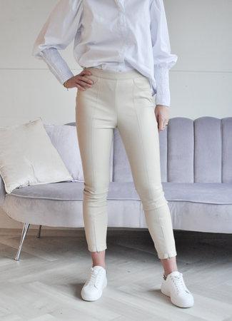 TESS V Ava leather pants beige