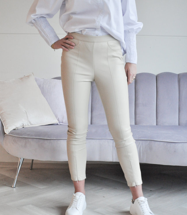 TESS V Ava leather pants beige