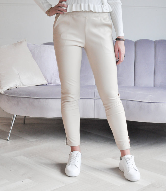 TESS V Naomi leather pants beige