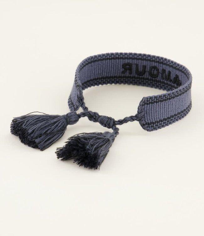 Donkerblauw bohemian armbandje amour