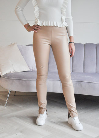 TESS V Wendy leather pants beige