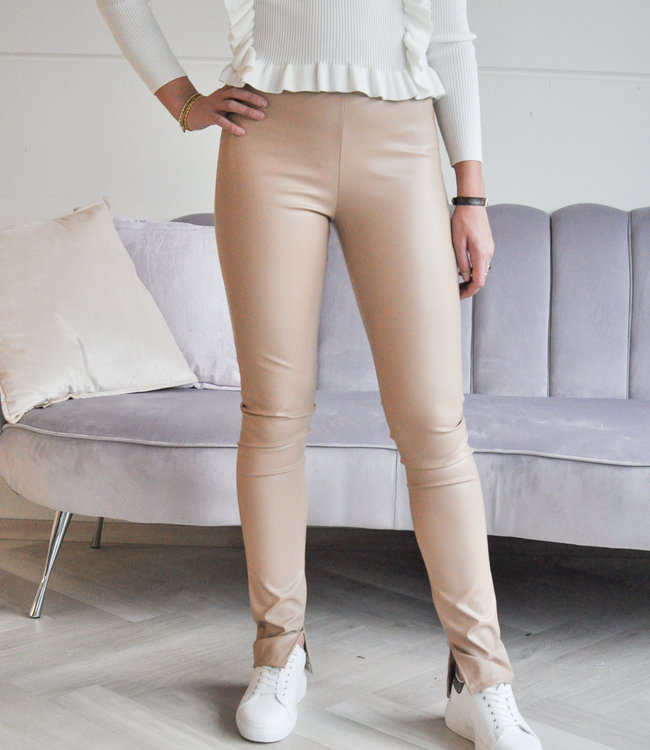 Wendy leather pants beige