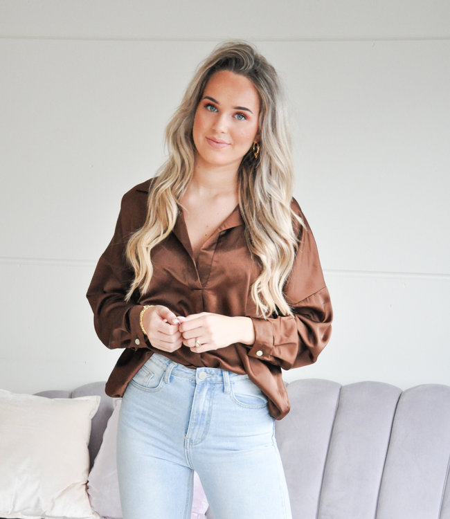 Satin blouse coffee