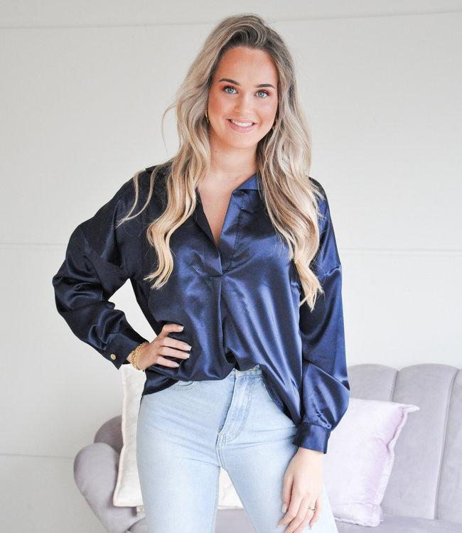 TESS V Satin blouse blue