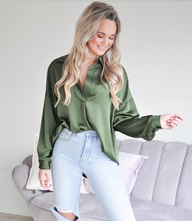 Satin blouse green