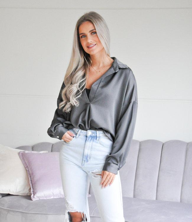 Satin blouse grey