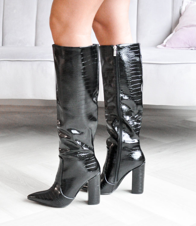 Nina snake heels black
