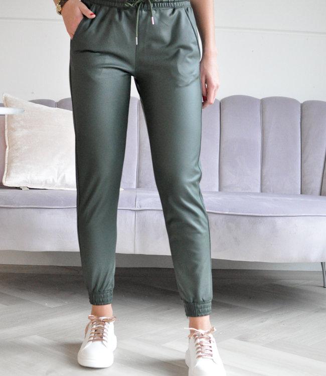 TESS V Bibi leather pants green