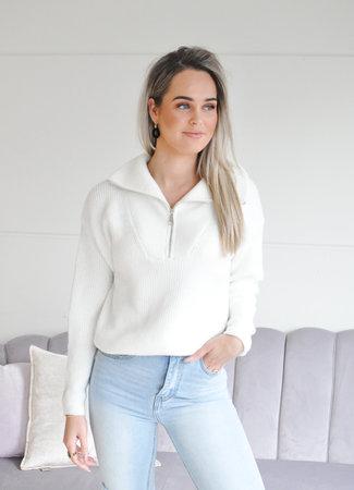 TESS V Janine zipper knit white