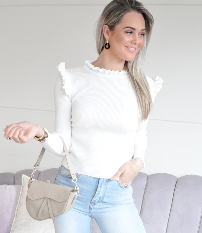 Lily ruffle top white