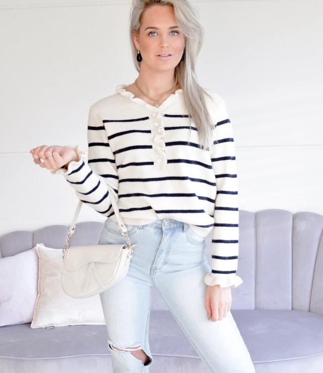 TESS V Livia sweater stripe creme