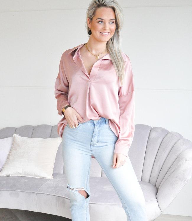 TESS V Satin blouse old pink