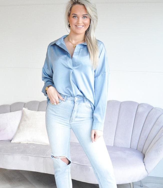 TESS V Satin blouse sky blue