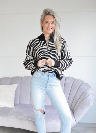TESS V Lina zipper knit zebra
