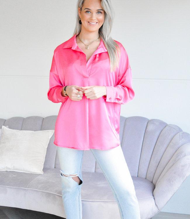 Satin blouse fuchsia