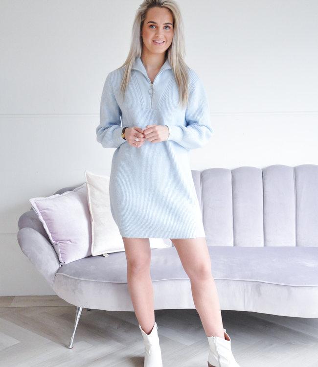 Zipper sweater dress blue