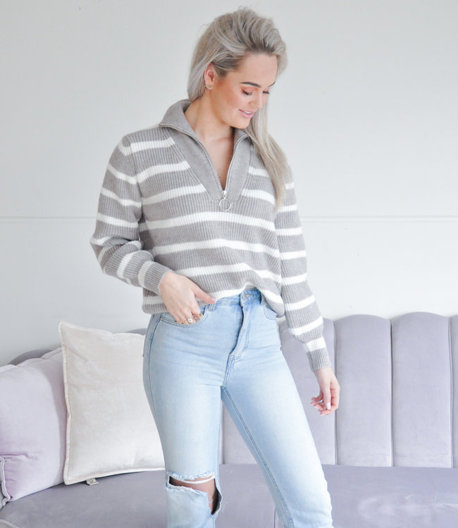 Malu zipper knit grey