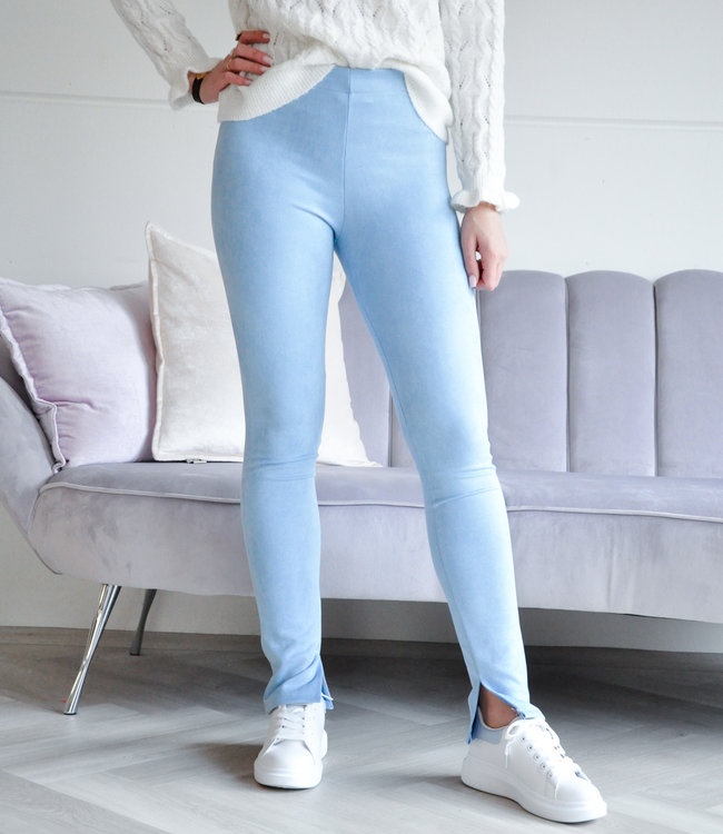 Suede blue pants