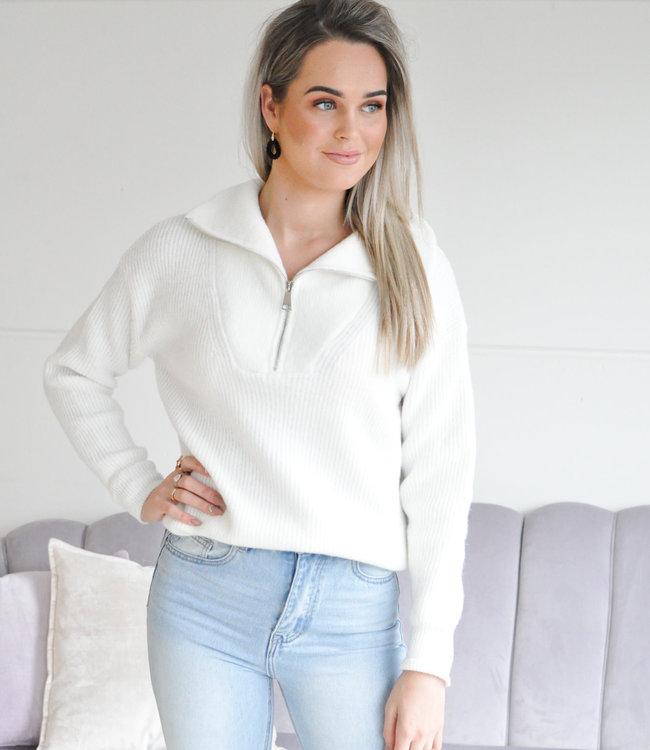 Janine zipper knit white