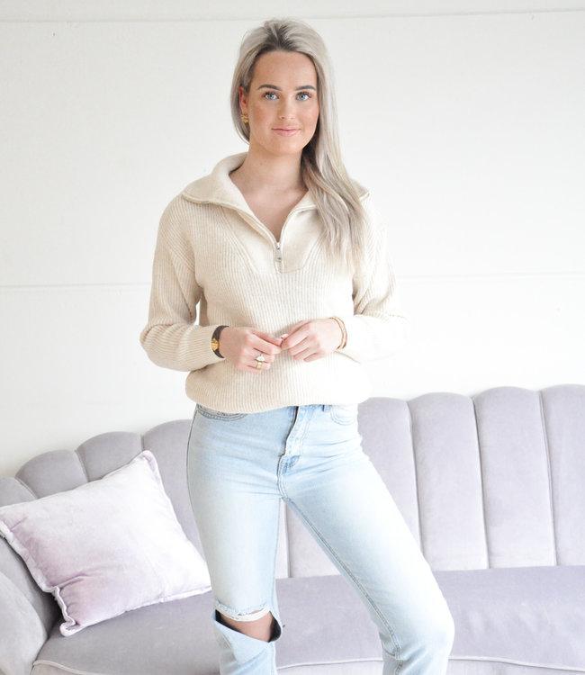 Janine zipper knit beige