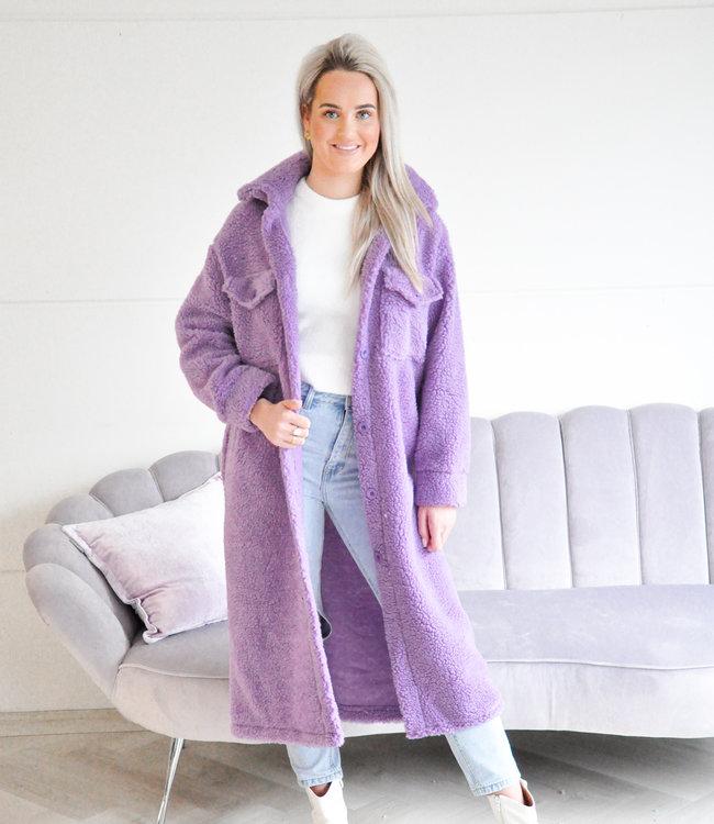 Eva teddy jacket long purple