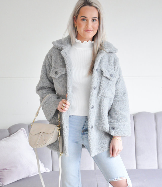 Emma teddy jacket grey