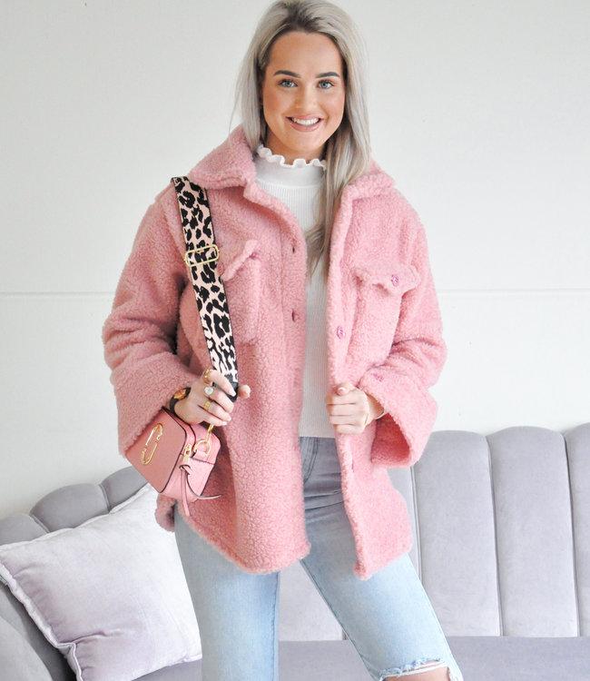 Emma teddy jacket pink