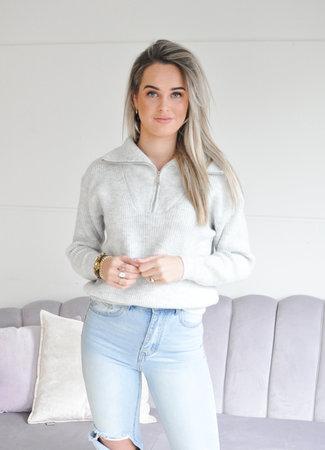 Janine zipper knit grey