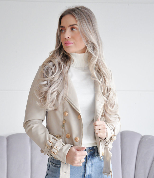 Juul leather jacket beige