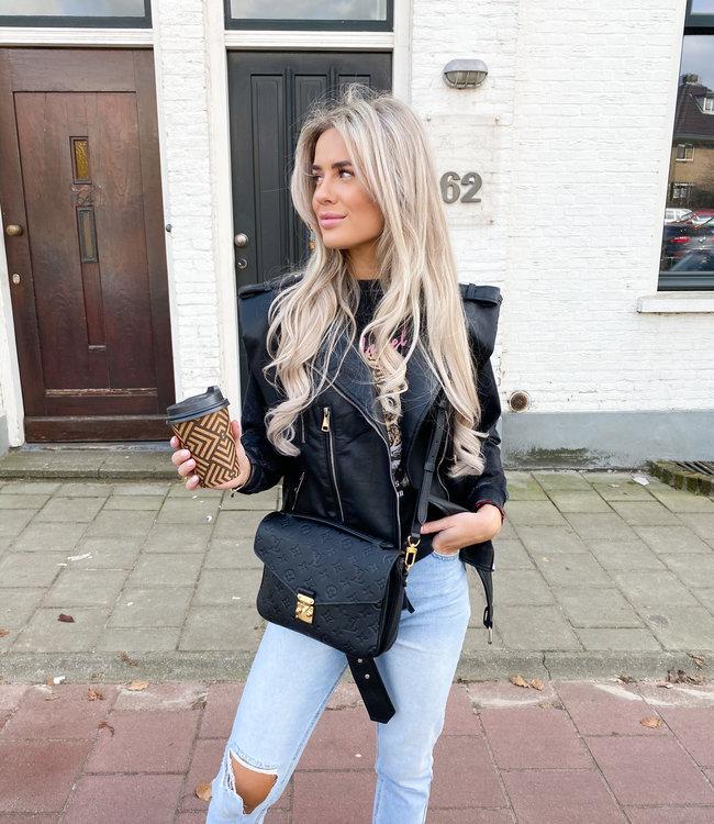 Lua Leather gilet black