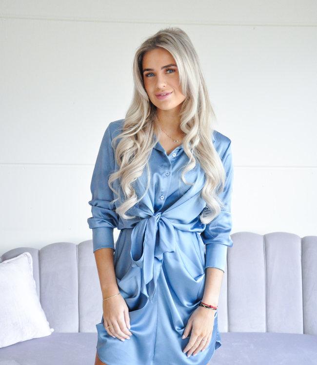 Lizzy satin dress blue