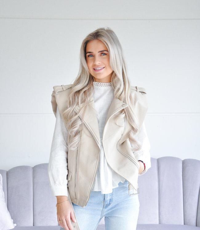 Lua Leather gilet beige