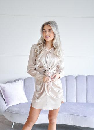 Lizzy satin dress beige